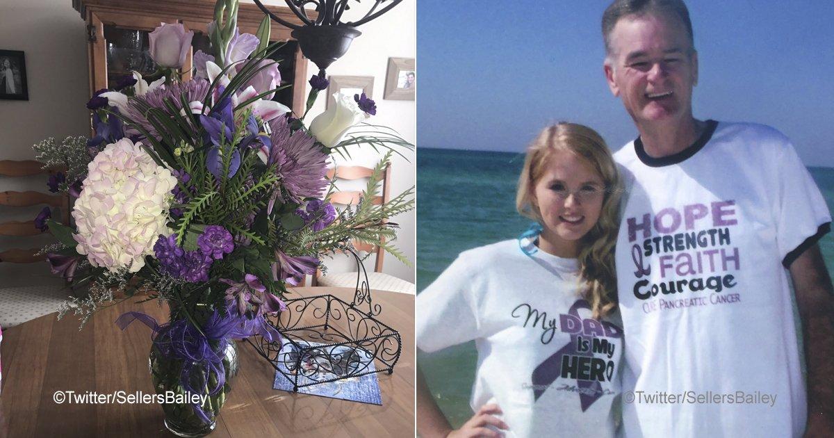 flores.jpg?resize=1200,630 - Durante todos os seus aniversários, ela recebeu flores do seu falecido pai, e o último buquê chegou com uma carta emocionante