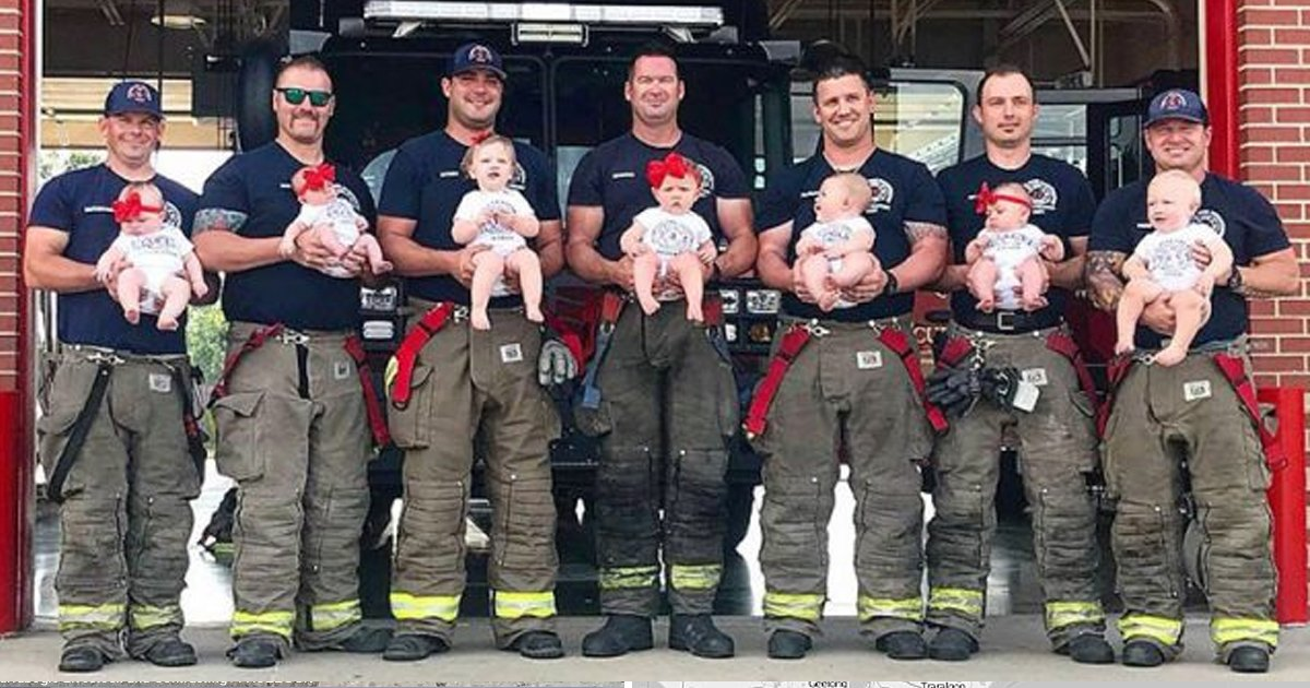 gaga 2.jpg?resize=412,232 - 7 Firefighter Dads From Oklahoma Did A Photo Shoot With Their 7 Newborns, And The Photos Are Adorable