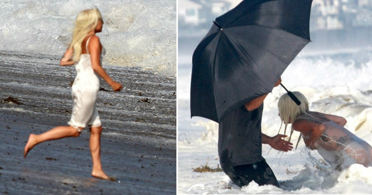 gaga photoshoot.jpg?resize=636,358 - Lady Gaga Brings Her Sexy Action In The Ocean On Very Risqué Beach Photoshoot