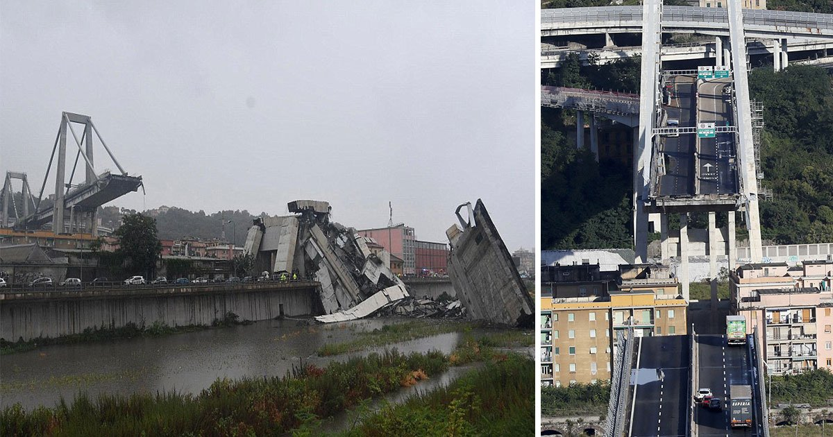genoa italy bridge collapse 6.jpg?resize=636,358 - A Highway Bridge Collapsed Tuesday In The Italian City Of Genoa, 35 People Have Died In The Accident