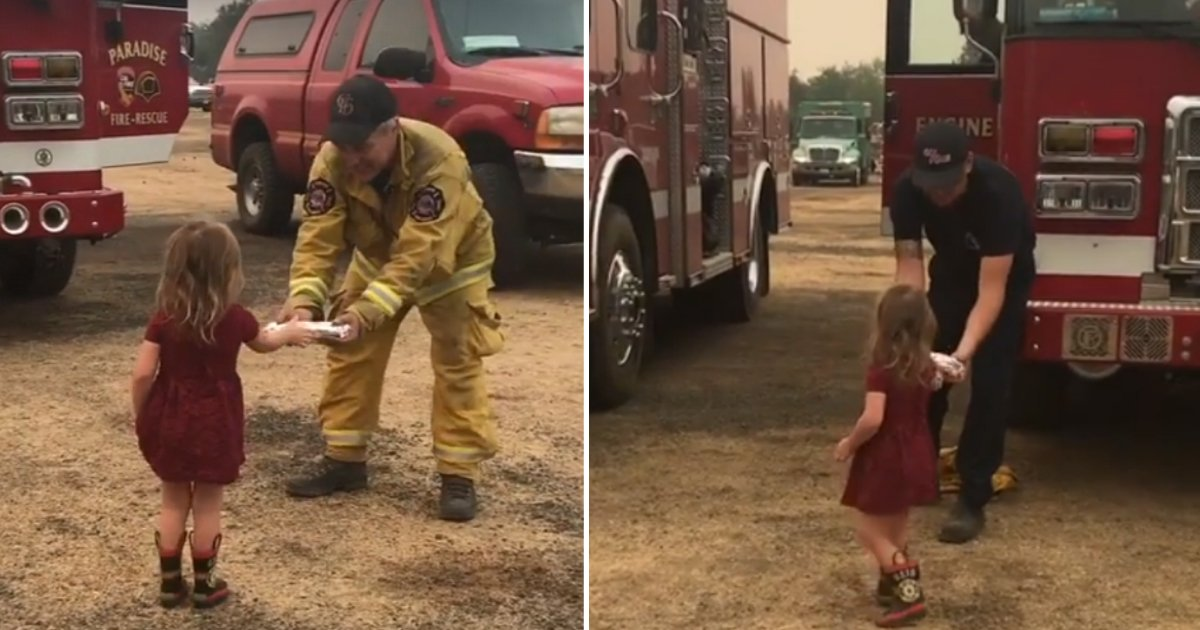 girl handing burrito.jpg?resize=636,358 - 2-Year-Old Girl Handed Out Homemade Burritos To Firefighters Who Have Been Battling California Wildfires For 24 Hours