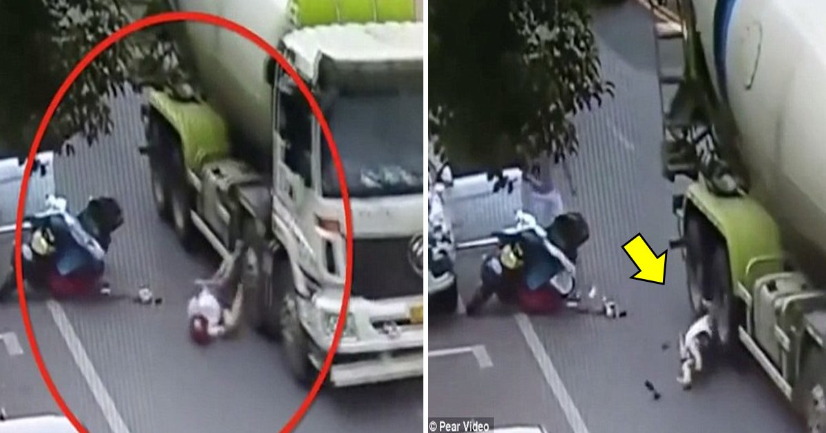 hafa.jpg?resize=636,358 - Horrific Moment The Motorcyclist Is Saved Thanks To Her Helmet After A Huge Truck Ran Over With Her Head In China
