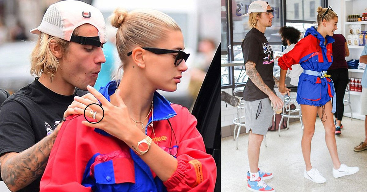 hailey baldwin engagement ring swapped wedding band 7.jpg?resize=636,358 - Hailey Baldwin Already Swapped Her Giant Engagement Ring For An Elegant Diamond Wedding Band While Justin Had On No Rings