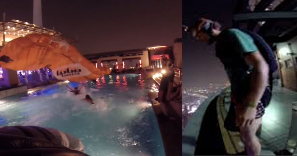 here is how base jumper crashes rooftop pool party.jpg?resize=412,232 - Voici comment un base-jumper saute d'un des plus hauts immeubles du monde !