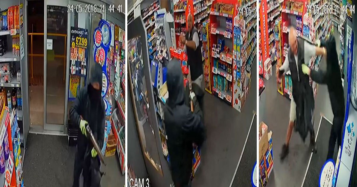 ian watson premier general stores in wollaton nottingham robbery5.jpg?resize=412,232 - CCTV Shows A Shopkeeper Fighting Back Against Armed Robber Demanding Cash