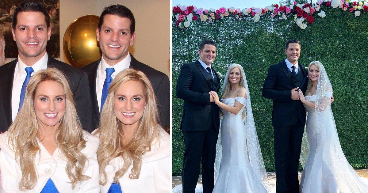 identical twin sisters married identical twin brothers.jpg?resize=300,169 - Hermanas gemelas fueron casadas con hermanos gemelos por dos ministros idénticos