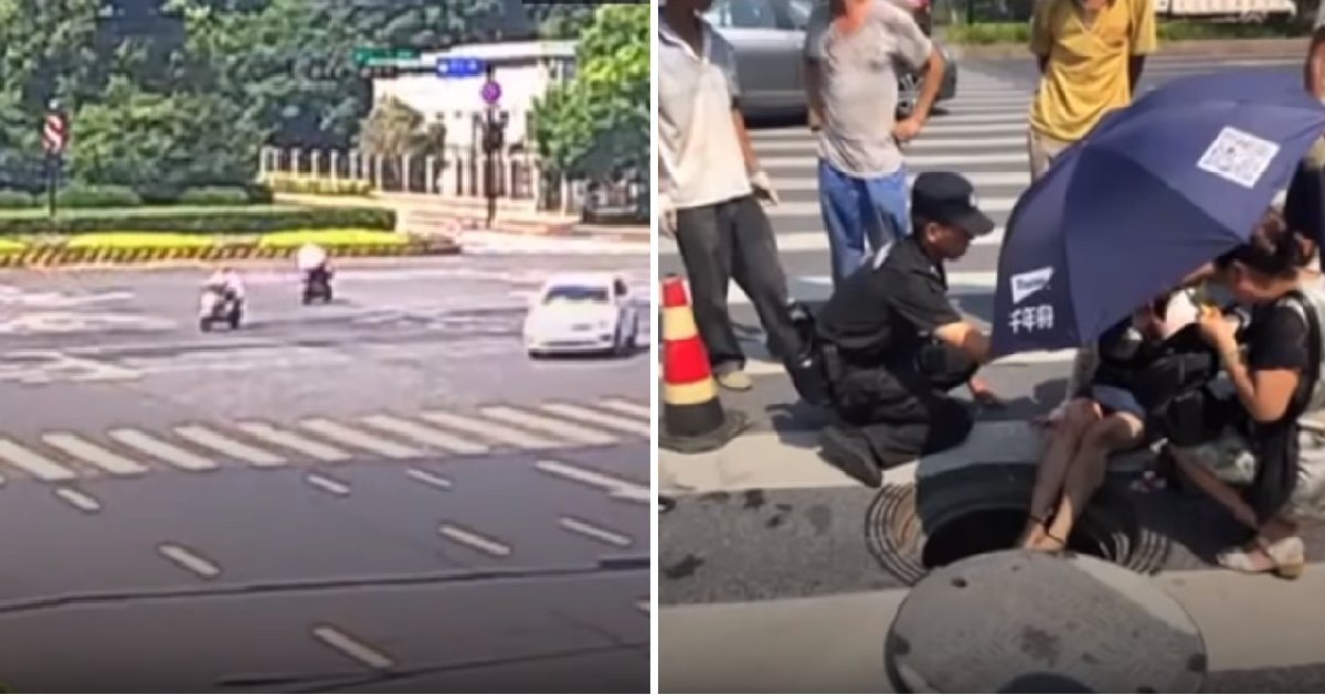img 5b6c32ad00519.png?resize=1200,630 - 스쿠터 타고 가다 승용차와 충돌 후 '맨홀'에 빠진 여성 (영상)