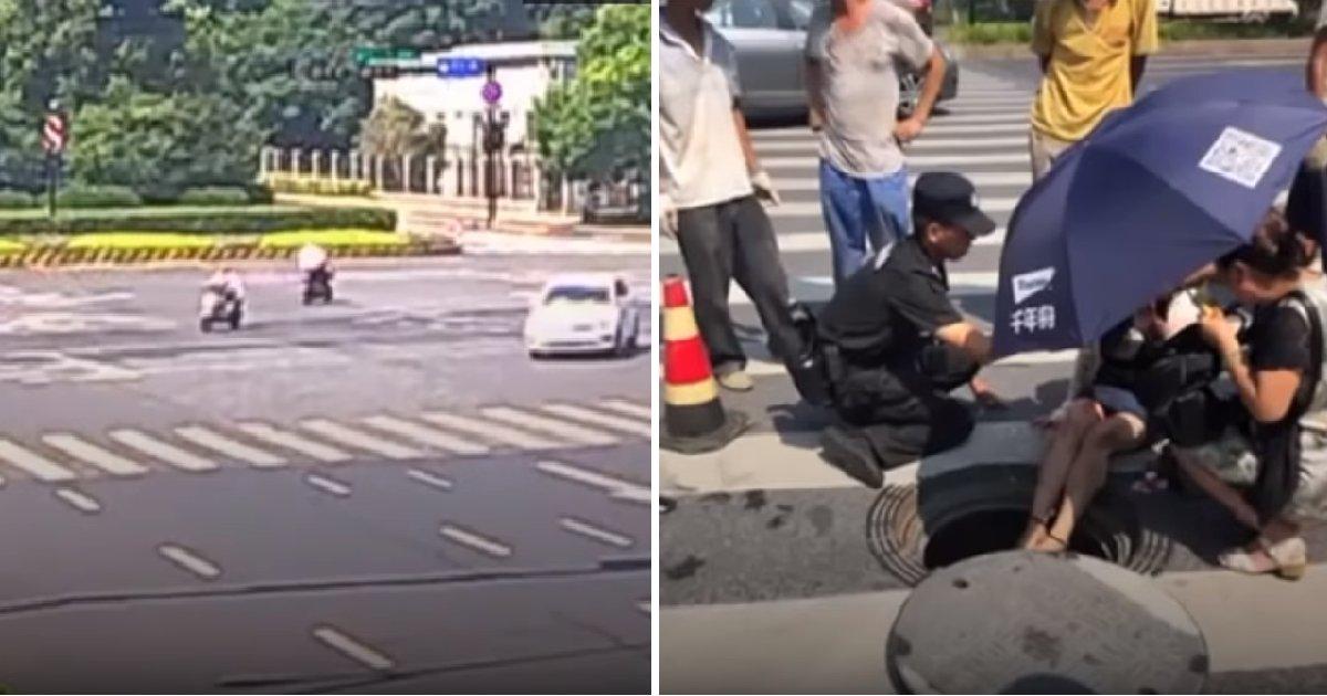 img 5b6c32ad00519.png?resize=648,365 - 스쿠터 타고 가다 승용차와 충돌 후 '맨홀'에 빠진 여성 (영상)
