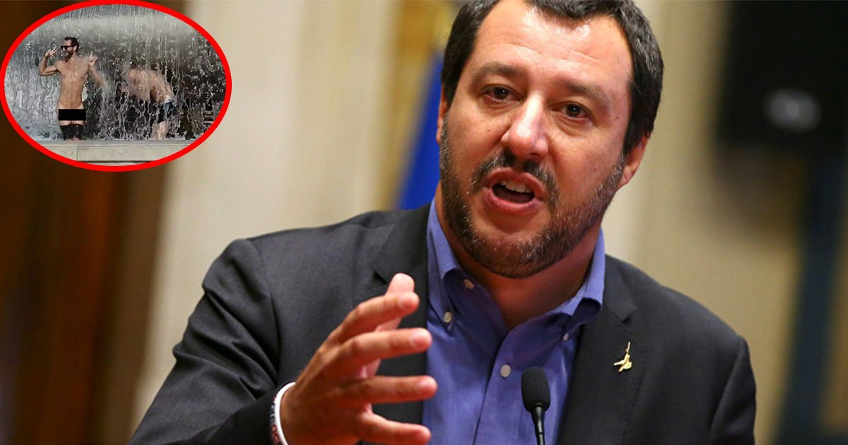 italys hardline interior minister matteo salvini intends to give punishment to two idiot tourists who stripped in a fountain at famous altare della patria monument.jpg?resize=636,358 - Le ministre italien Matteo Salvini, a l'intention de punir deux touristes qui ont posé nus dans une fontaine