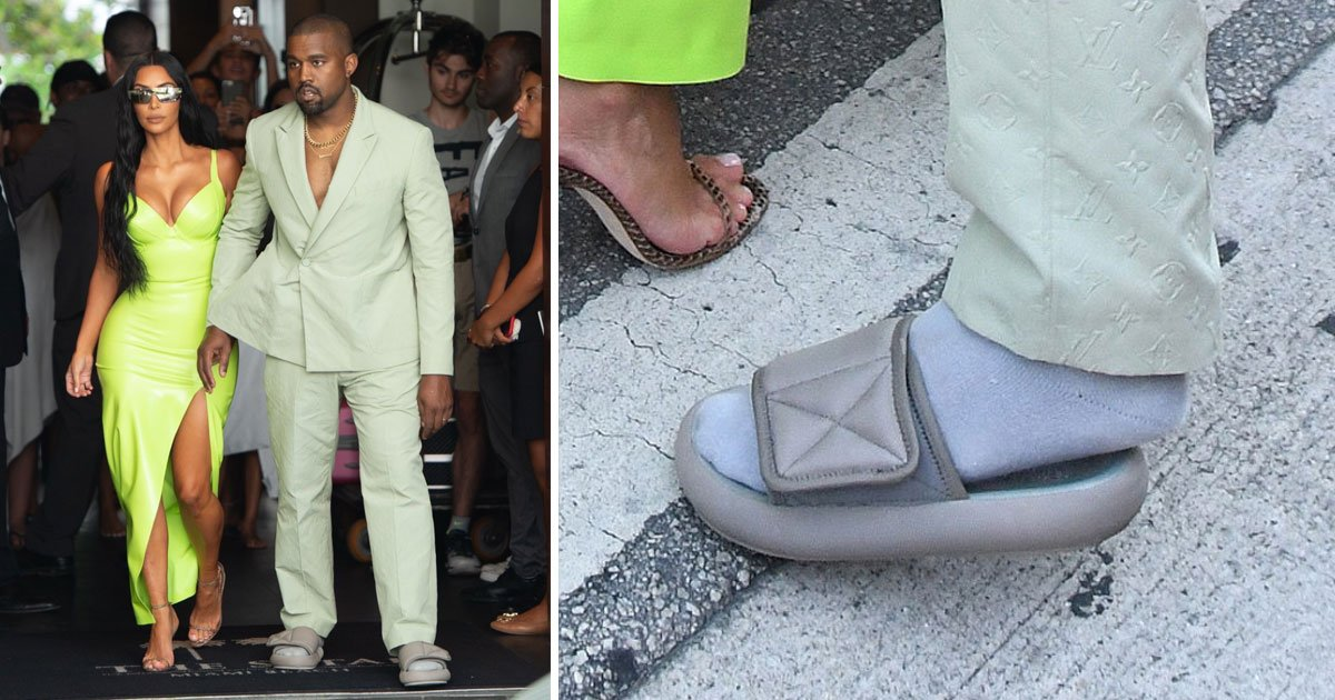 kim kanye 2 chainz wedding.jpg?resize=1200,630 - Kanye West Gets Trolled For Wearing Tiny Yeezy Slides At 2 Chainz's Extravagant Wedding