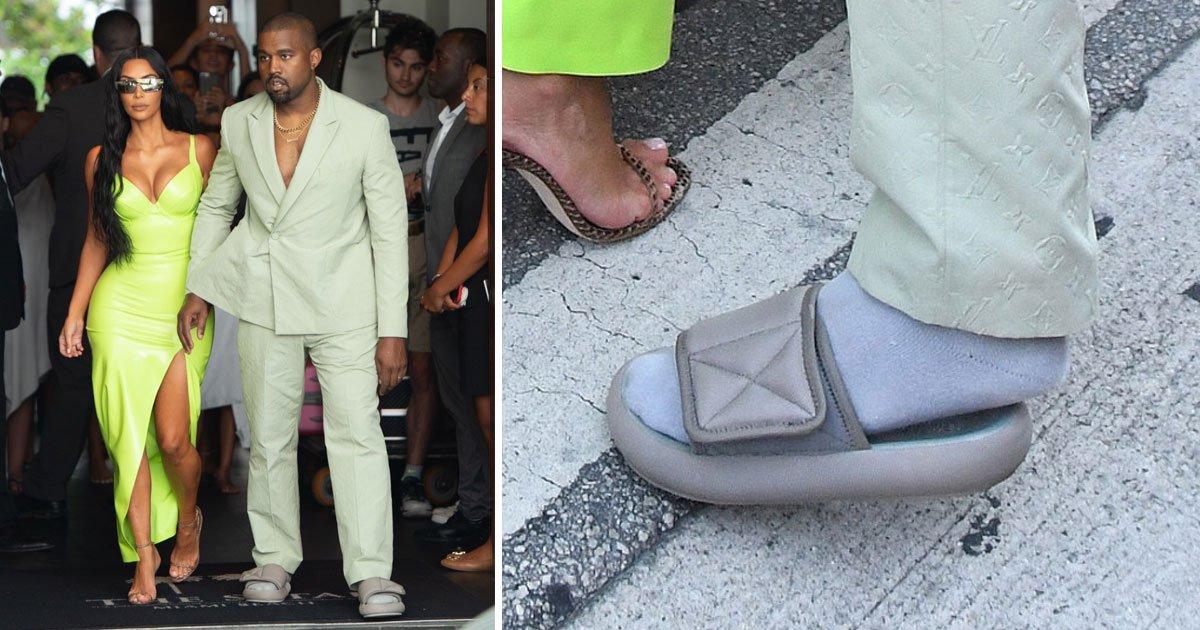 kim kanye 2 chainz wedding.jpg?resize=412,232 - Kanye West é zoado por vestir sandália minúscula no casamento extravagante de 2 Chainz