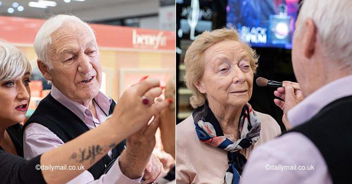 maquilla.jpg?resize=300,169 - Antes de quedar ciega, su esposo de 84 años aprendió a maquillarla, su amor no tiene límites
