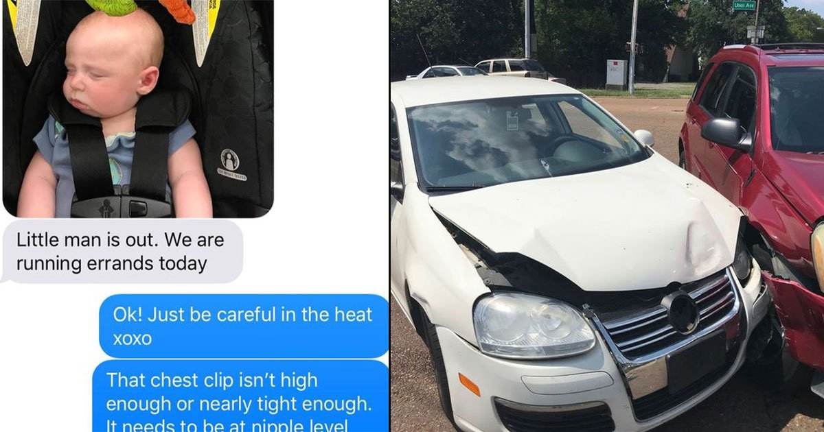 nagging mom saved son car accident text husband 11.jpg?resize=1200,630 - A Mother's Nagging Text To Her Husband Saved Their Three-Month-Old Son's Life When They Got Into A 50MPH Crash Minutes Later