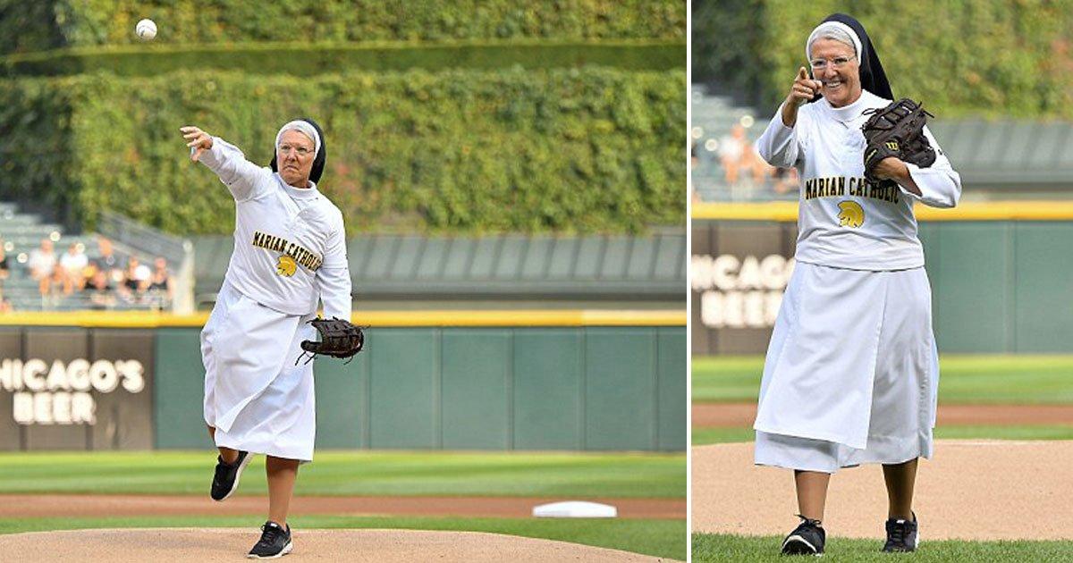 nun pefect pitch.jpg?resize=300,169 - 메이저리거도 놀라게 만든 수녀의 '완벽한' 시구 (영상)