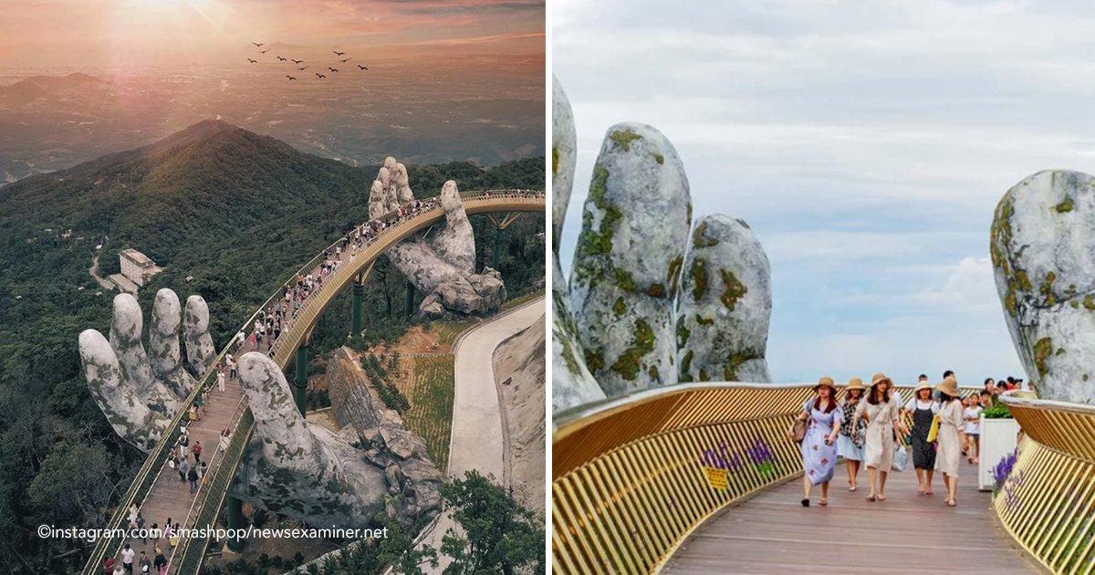 puente.jpg?resize=300,169 - Un impresionante puente de oro sostenido por dos manos gigantes acaba de inaugurase en Vietnam