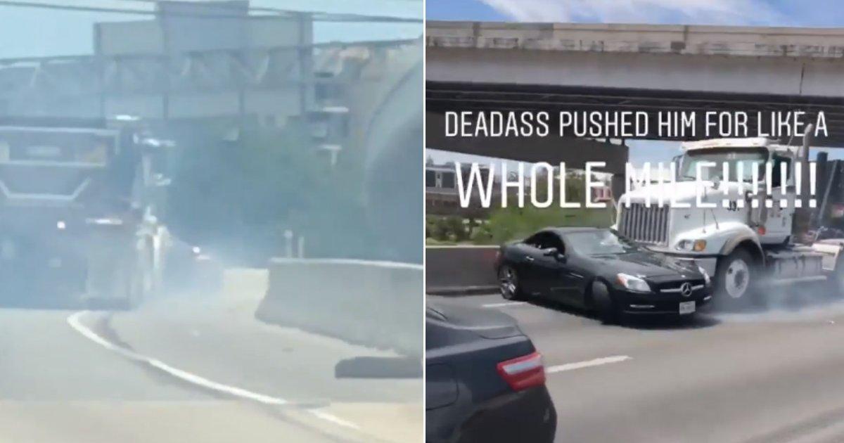 pushed mile.jpg?resize=412,232 - Un poids lourd traîne une voiture et ses passagers le long d'une autoroute sur un kilomètre