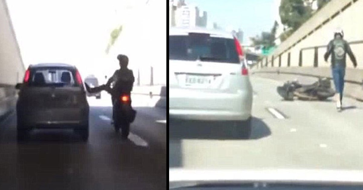 sau paulo brazil motorcyclist car kick 4.jpg?resize=636,358 - A Biker In São Paulo, Brazil Was Caught Kicking A Car In A Fit Of Road Rage-And Then He Falls Off His Motorcycle