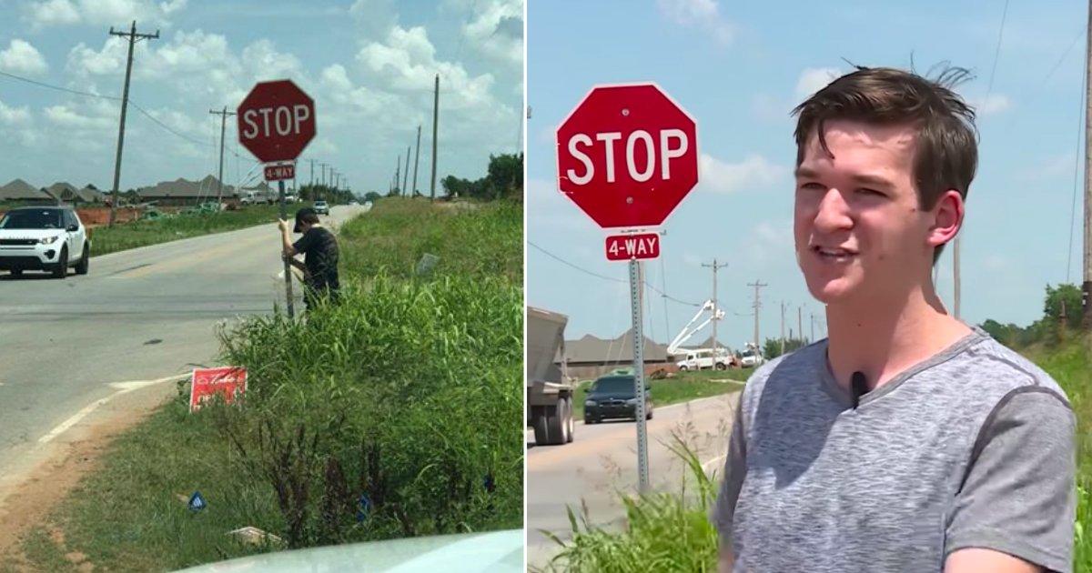 stop sign.jpg?resize=412,232 - En plein été, sous la chaleur, un adolescent protège les conducteurs en tenant un panneau stop