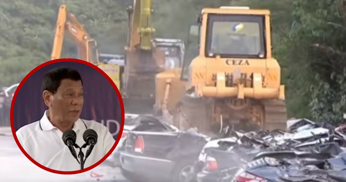 supercars destroyed.jpg?resize=648,365 - President Of Philippines Destroyed $5.6 Million Worth Of Cars Smuggled By Drug Dealers