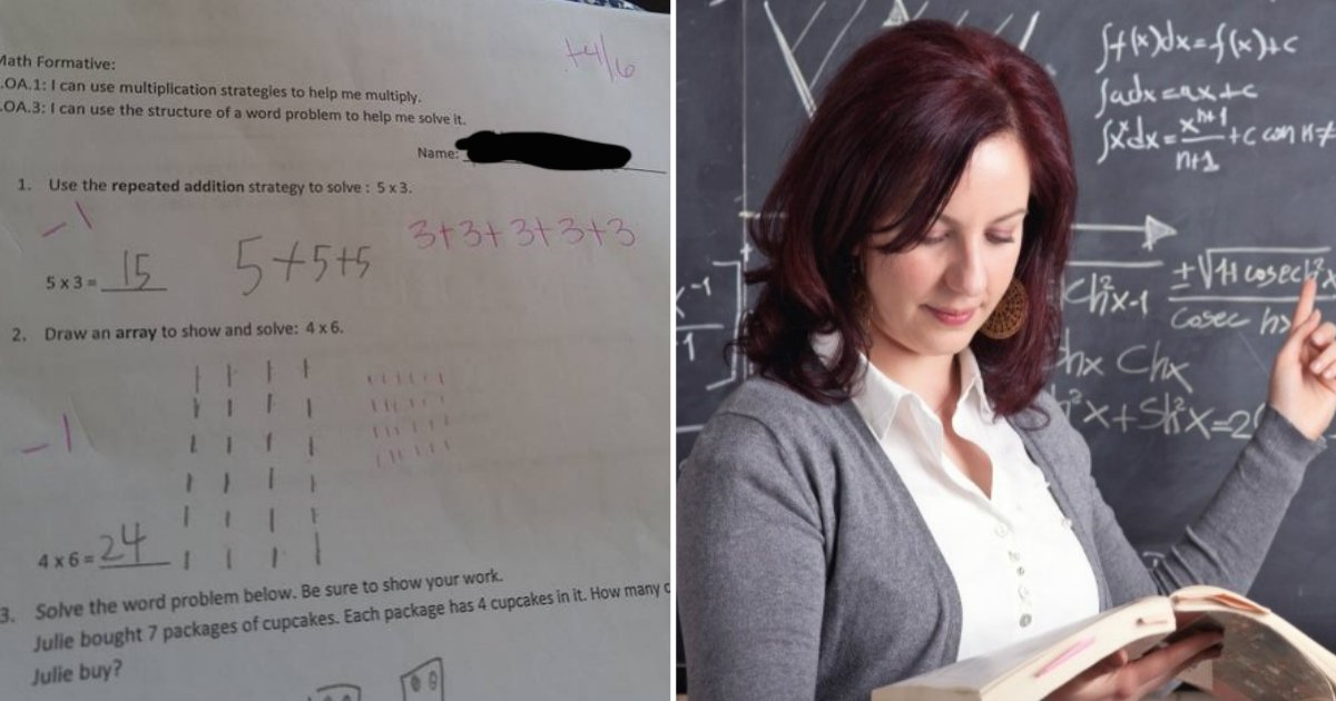 teacher marking.jpg?resize=636,358 - Here's Why Teachers In America Are Marking 5x3=15 As Incorrect; Reddit Users Are Up In Arms!
