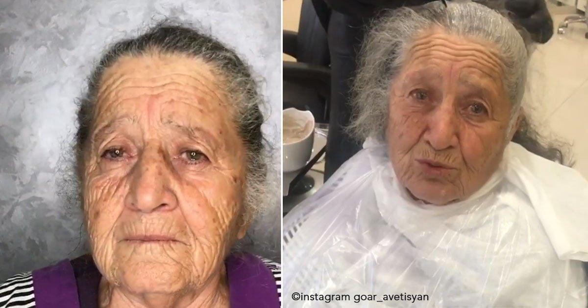 untitled 1 83.jpg?resize=636,358 - Neta maquiadora queria dar um belo presente para sua avó, então mudou o seu look deixando-a simplesmente LINDA!