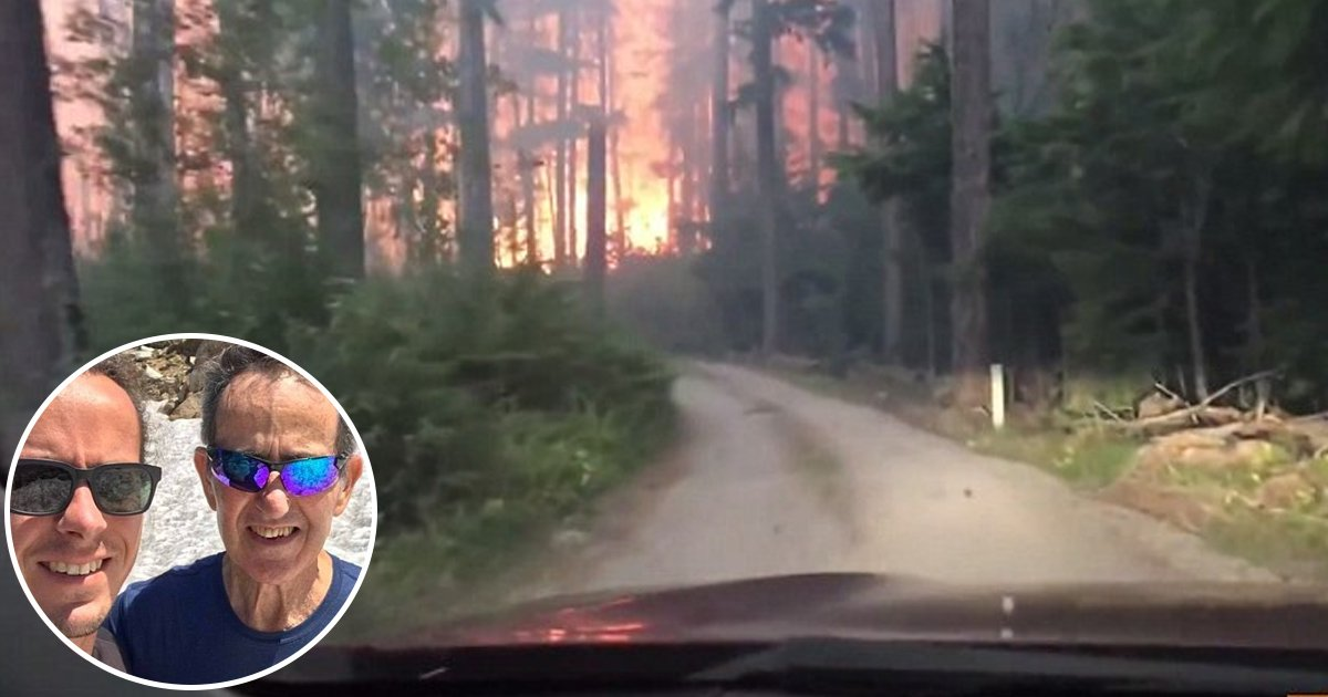 vvg.jpg?resize=1200,630 - [Vidéo] Pris au piège d'un dévastateur feu de forêt, un père et son fils ont filmé leur fuite.