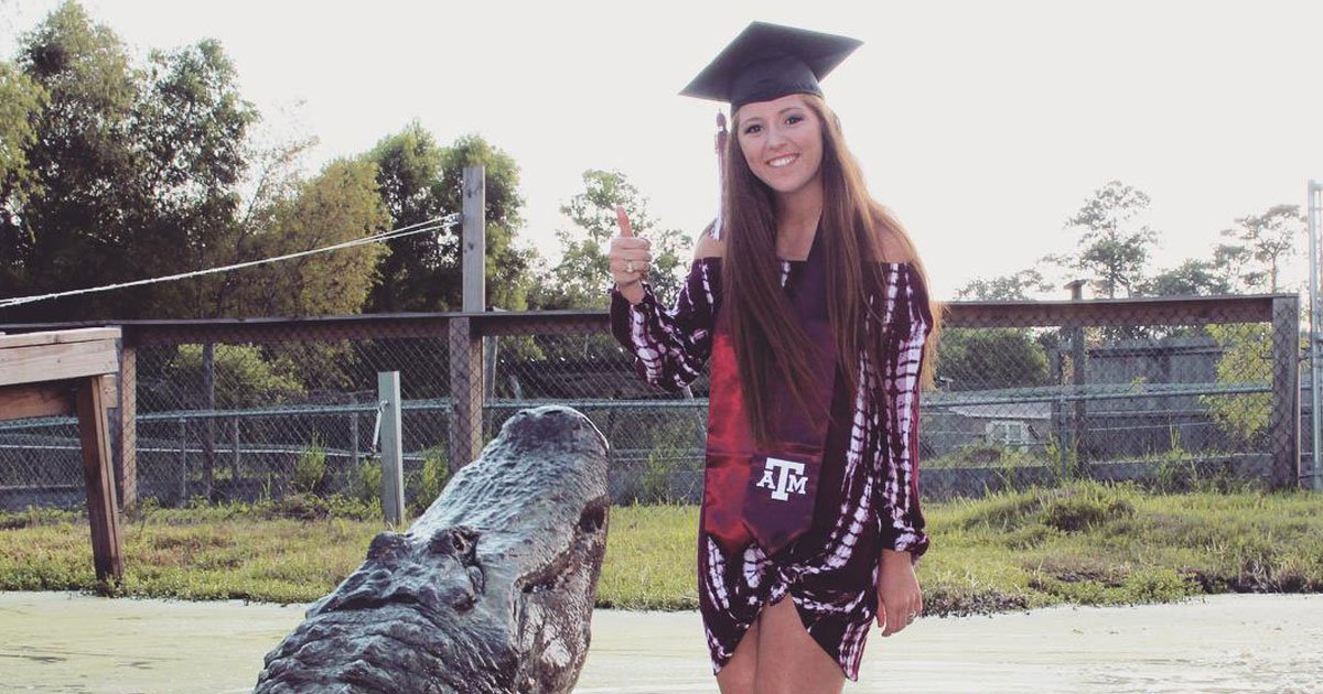 woman feeds alligator.jpg?resize=1200,630 - Woman, Who Took Graduation Photos With A Giant Alligator, Feeds Him In A New Video
