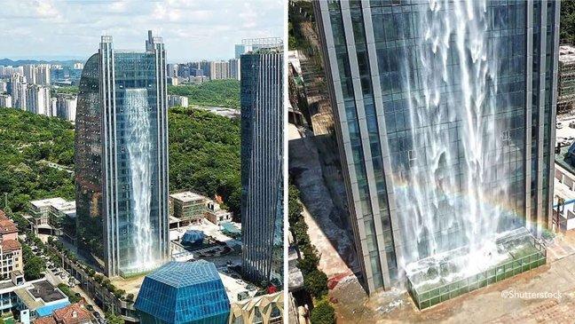 xax 1.jpg?resize=412,232 - Empresa chinesa constrói uma cachoeira artificial de 108 metros de altura em um arranha-céu