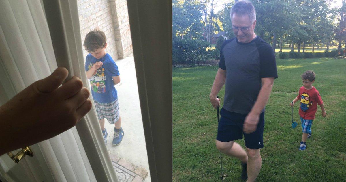 yard work.jpg?resize=636,358 - Menino de 5 anos de idade trabalha no jardim dos vizinhos todos os dias depois que seu pai foi enviado à Síria