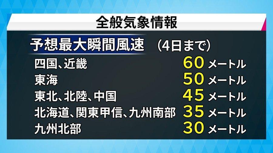 非常に強い台風21号 火曜昼にも四国・近畿に上陸へ