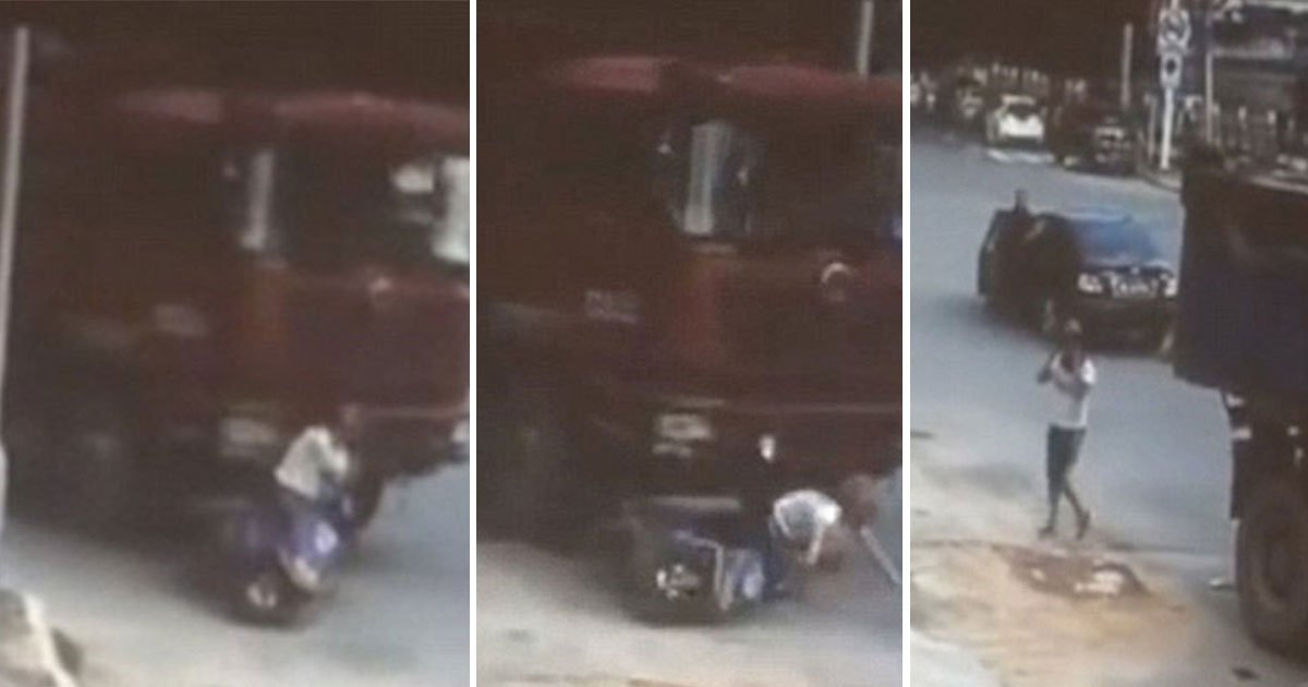 11 64.jpg?resize=300,169 - A Woman Has Had A Lucky Escape After Being Run Over By A Lorry In Xinyi, China