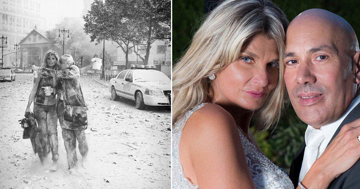 911 attack.jpg?resize=636,358 - Sobrevivente do 9/11 foi fotografada no dia do atentado e no dia do seu casamento pelo mesmo fotógrafo