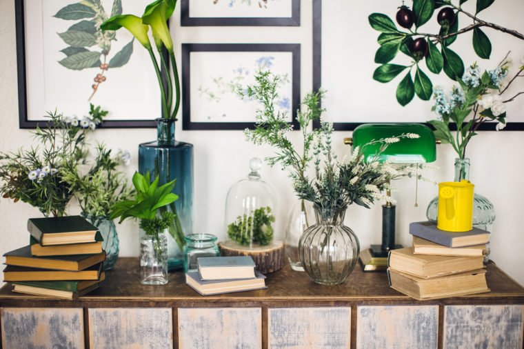 A pile of books on a wooden chest of drawers, on a light background, together with plants, greens in vases, a home greenhouse, plant paintings, botanical illustrations