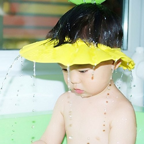 Baby Kids Soft Shampoo Bath Shower Cap Hat Waterproof Shield for Children Yellow
