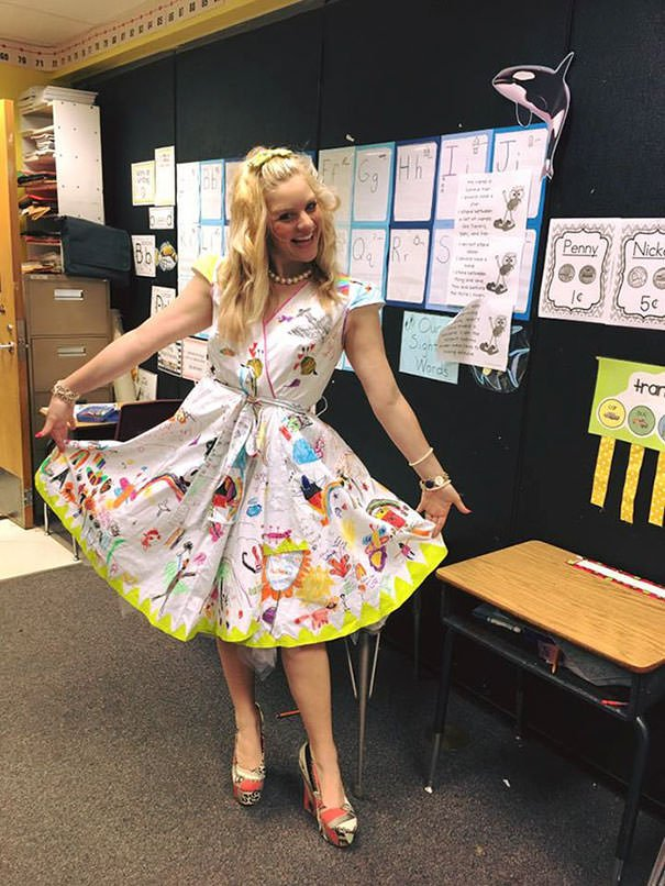 First-grade Teacher Lets Students Draw On Her Dress For Last Day Of School