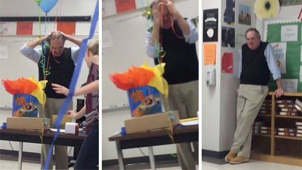 Teacher Breaks Down Into Tears When His Students Give Him A Birthday Cake