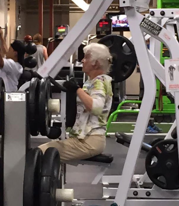 Gym Workout. She Has A Dance Competition Coming Up. Her Partner Is In His 90