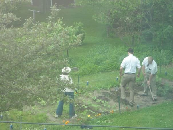The Mormons Insisted On Speaking To My Mom. So Here They Are Helping Her Garden