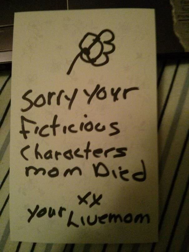 My Mom Slid This Under My Door After Walking In On Me Watching Buffy And Sobbing