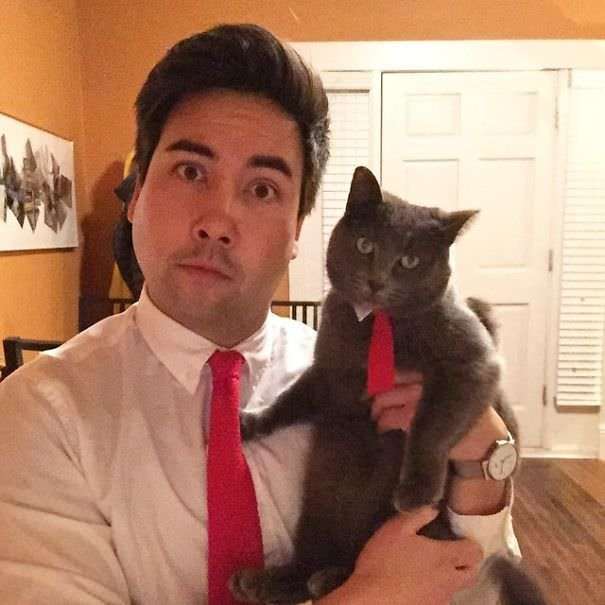 My Mom Knit Me And My Cat Another Set Of Matching Ties For Christmas
