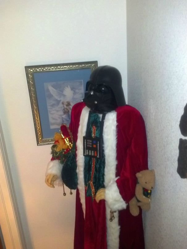 My Nephew Accidentally Knocked The Head Off Of Santa. My Mom Fixed It