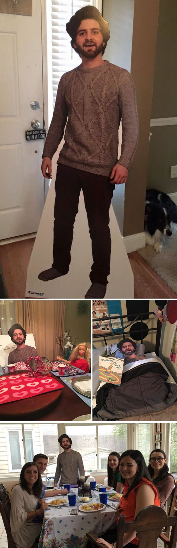 Son Studying Abroad Sent Mom Cutout Of Himself And Thought They