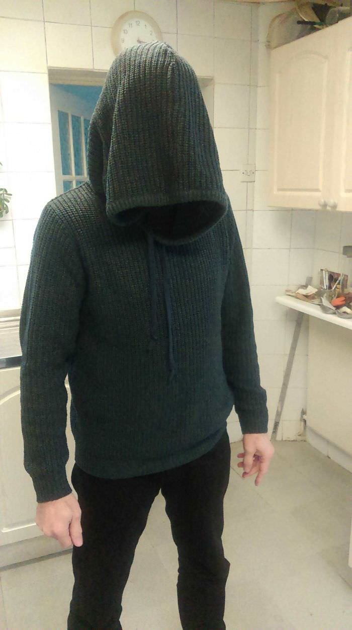 My Dad Bought A Wool Hoodie Online And The Proportions Were A Bit Off