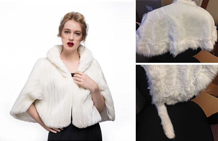 Tried To Get A Faux Fur Wrap For My Wedding... Not Exactly What I Pictured, Amazon.