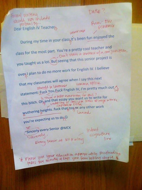 Teacher Grades Student's F-you Letter