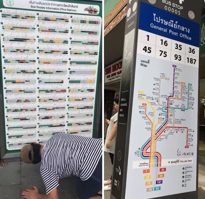 Bus Routes Info Map In Thailand. The Left One Is Designed By Government And The Right One Is Designed By Local Community Service Group