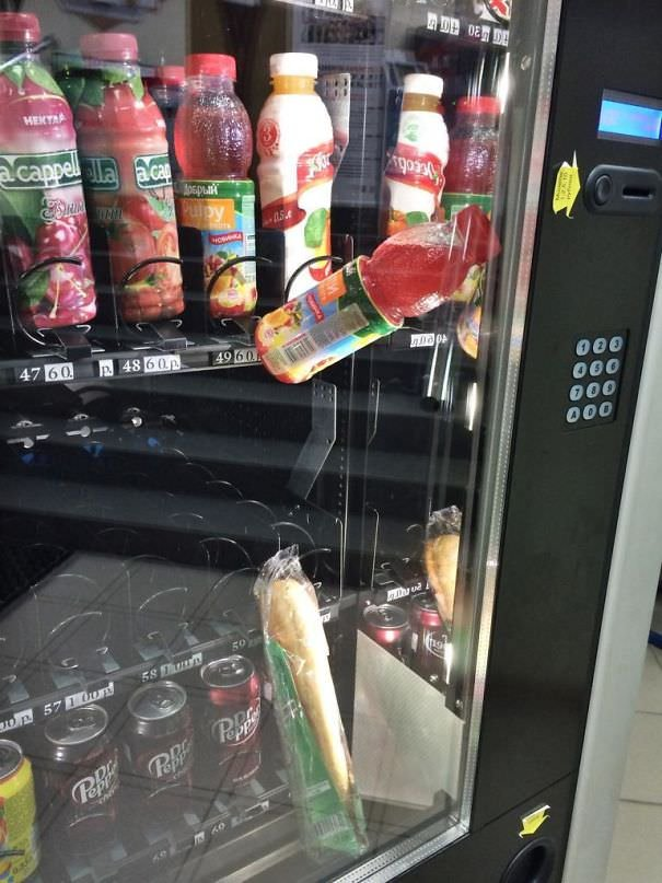 Got A Sandwich Stuck In Vending Machine. Bought A Drink To Push The Sandwich. Damn