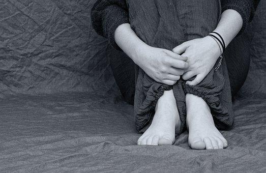 절망적 인, 슬픈, 우울, 피트, 손, 접혀, 희망 없는, 손실, 우려