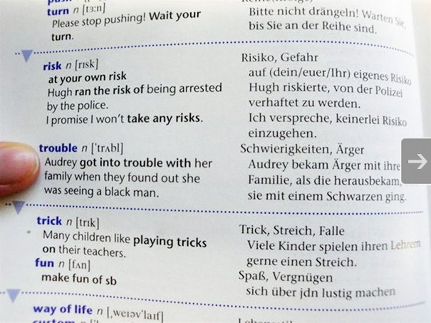 Word 'Trouble' In A Racist German Dictionary