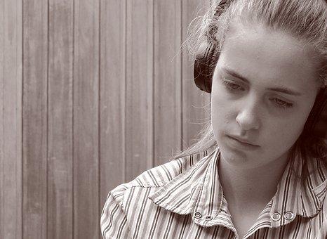 소녀, 음악, Luis를, 빈티지, 포커스, 의 우울증, 영감